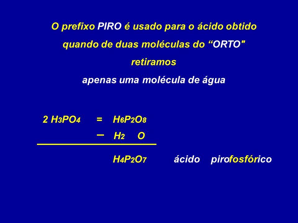 H4P2O7H4P2O7 O prefixo PIRO é usado para o ácido obtido quando de duas moléculas do ORTO retiramos apenas uma molécula de água 2 H 3 PO 4 H 2 O = fosfóricopiro H6P2O8H6P2O8 ácido