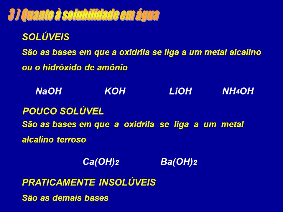 SOLÚVEIS NaOHKOHLiOH NH 4 OH São as bases em que a oxidrila se liga a um metal alcalino ou o hidróxido de amônio POUCO SOLÚVEL Ca(OH) 2 Ba(OH) 2 São as bases em que a oxidrila se liga a um metal alcalino terroso PRATICAMENTE INSOLÚVEIS São as demais bases