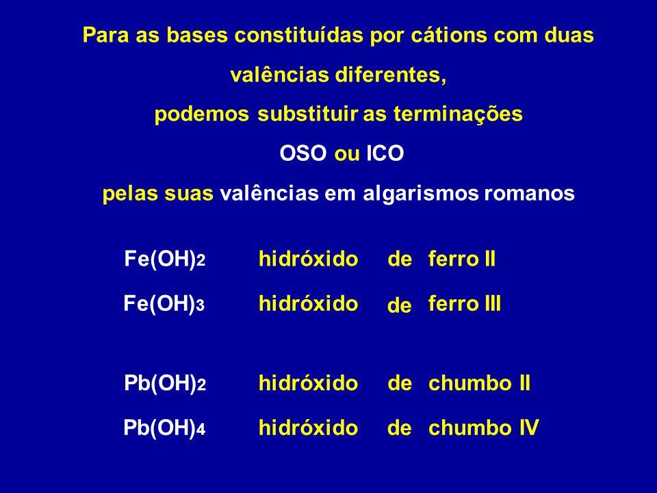 Para as bases constituídas por cátions com duas valências diferentes, podemos substituir as terminações OSO ou ICO pelas suas valências em algarismos romanos hidróxidoFe(OH) 2 ferro II hidróxidoferro IIIFe(OH) 3 hidróxidoPb(OH) 2 chumbo II hidróxidochumbo IVPb(OH) 4 de