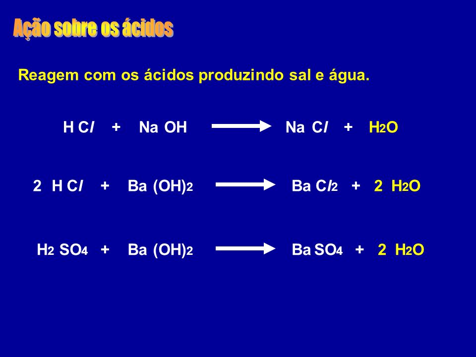 Reagem com os ácidos produzindo sal e água.