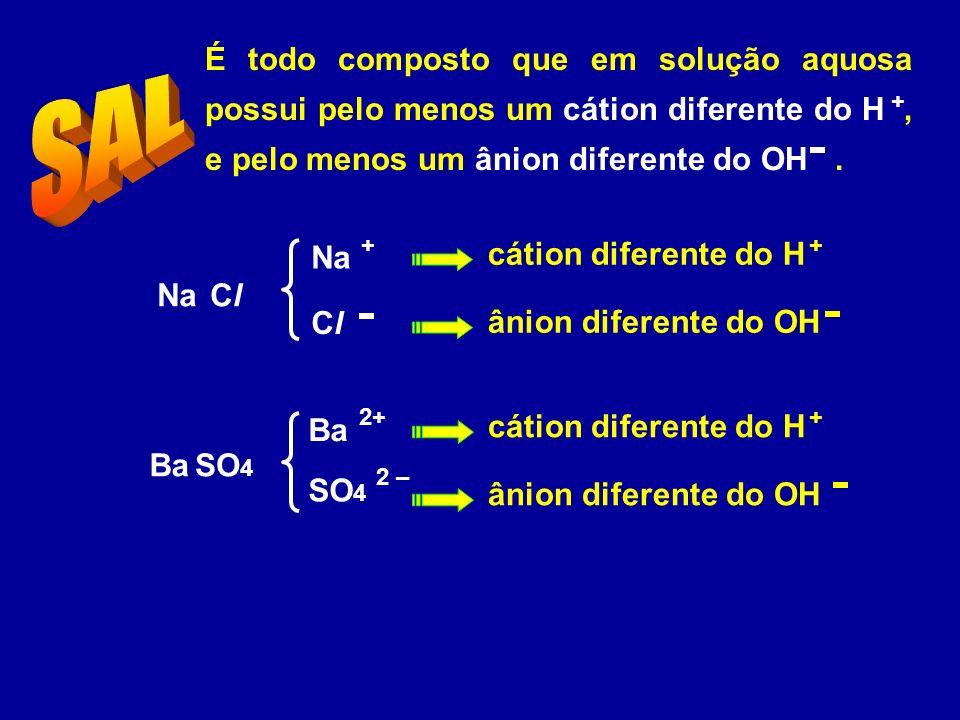 É todo composto que em solução aquosa possui pelo menos um cátion diferente do H, e pelo menos um ânion diferente do OH.