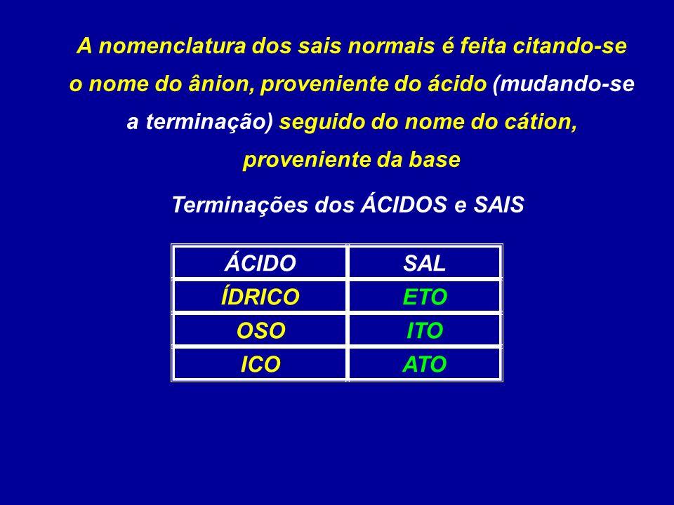 A nomenclatura dos sais normais é feita citando-se o nome do ânion, proveniente do ácido (mudando-se a terminação) seguido do nome do cátion, proveniente da base Terminações dos ÁCIDOS e SAIS ATOICO ITOOSO ETOÍDRICO SALÁCIDO
