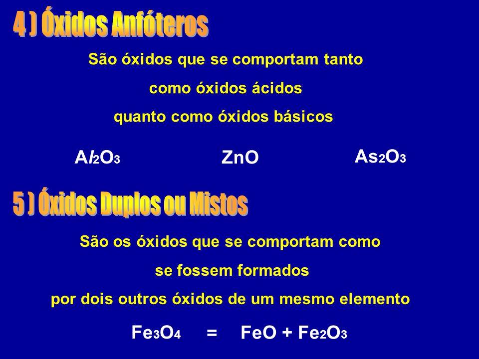 São óxidos que se comportam tanto como óxidos ácidos quanto como óxidos básicos ZnO Al2O3Al2O3 As 2 O 3 São os óxidos que se comportam como se fossem formados por dois outros óxidos de um mesmo elemento FeO + Fe 2 O 3 Fe 3 O 4 =