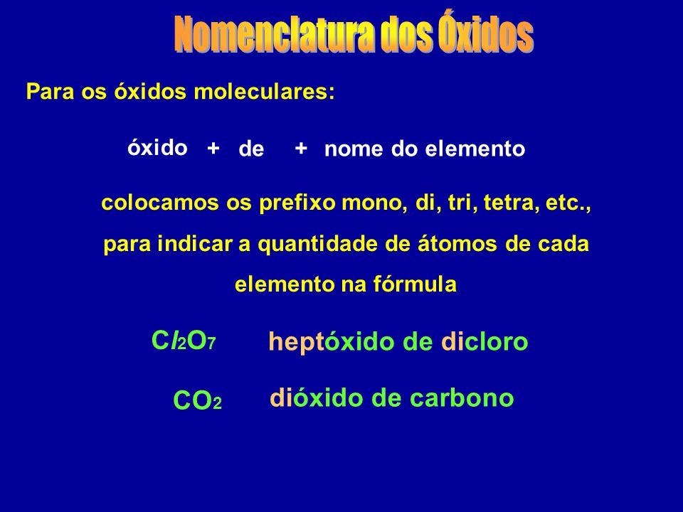 Para os óxidos moleculares: óxido colocamos os prefixo mono, di, tri, tetra, etc., para indicar a quantidade de átomos de cada elemento na fórmula ++denome do elemento CO 2 Cl2O7Cl2O7 heptóxido de dicloro dióxido de carbono