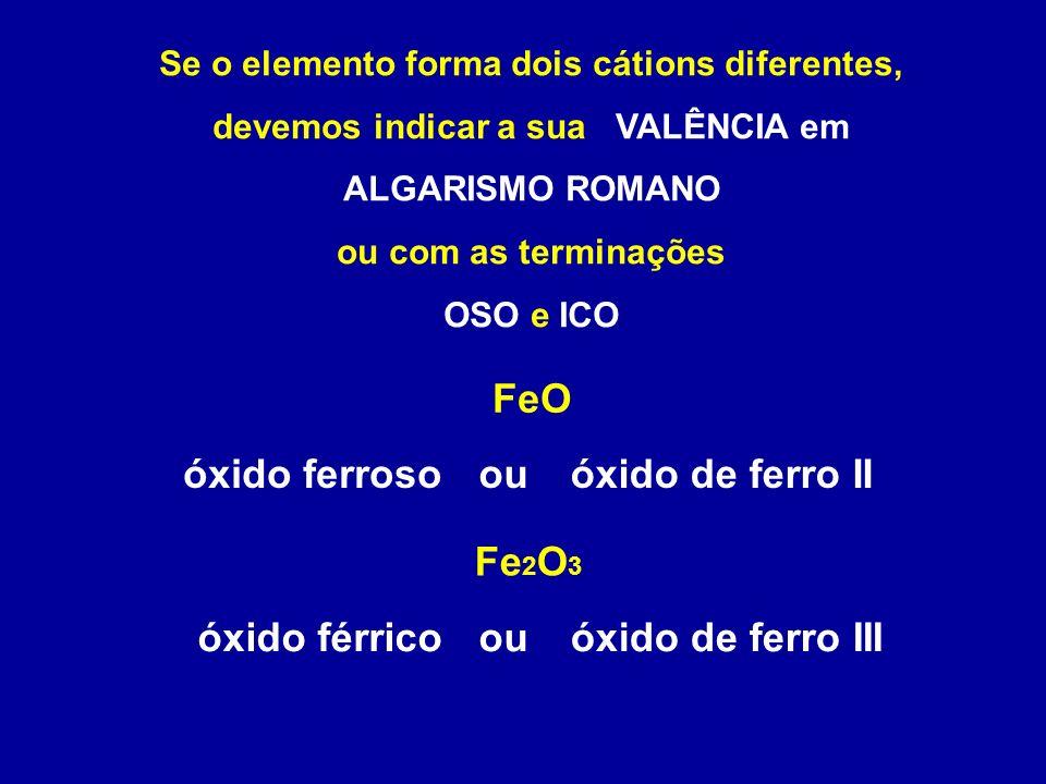Se o elemento forma dois cátions diferentes, devemos indicar a sua VALÊNCIA em ALGARISMO ROMANO ou com as terminações OSO e ICO FeO Fe 2 O 3 óxido férrico óxido de ferro IIouóxido ferroso óxido de ferro IIIou