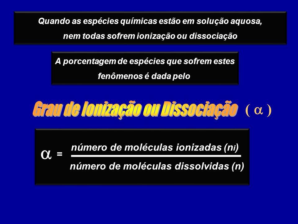 ( ) Quando as espécies químicas estão em solução aquosa, nem todas sofrem ionização ou dissociação Quando as espécies químicas estão em solução aquosa, nem todas sofrem ionização ou dissociação A porcentagem de espécies que sofrem estes fenômenos é dada pelo A porcentagem de espécies que sofrem estes fenômenos é dada pelo número de moléculas ionizadas (n i ) número de moléculas dissolvidas (n) =