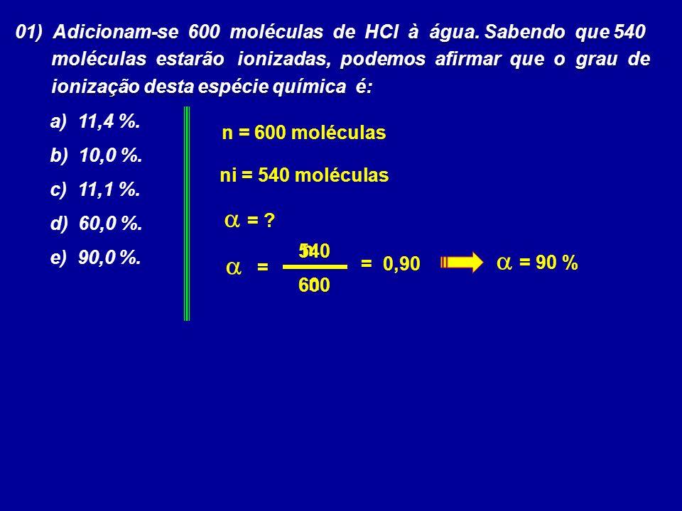 01) Adicionam-se 600 moléculas de HCl à água.