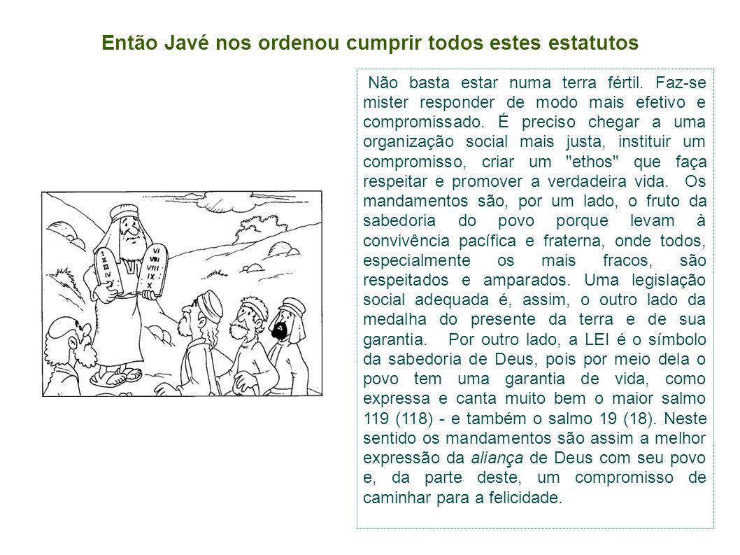 Então Javé nos ordenou cumprir todos estes estatutos Não basta estar numa terra fértil.