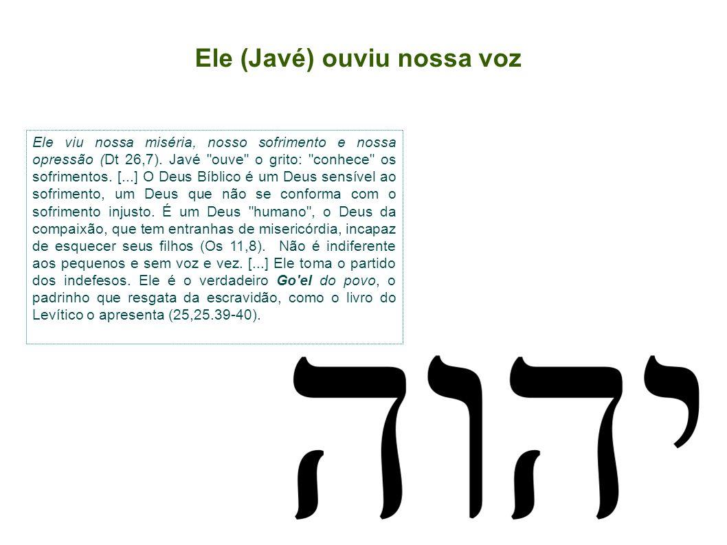 Ele (Javé) ouviu nossa voz Ele viu nossa miséria, nosso sofrimento e nossa opressão (Dt 26,7). Javé
