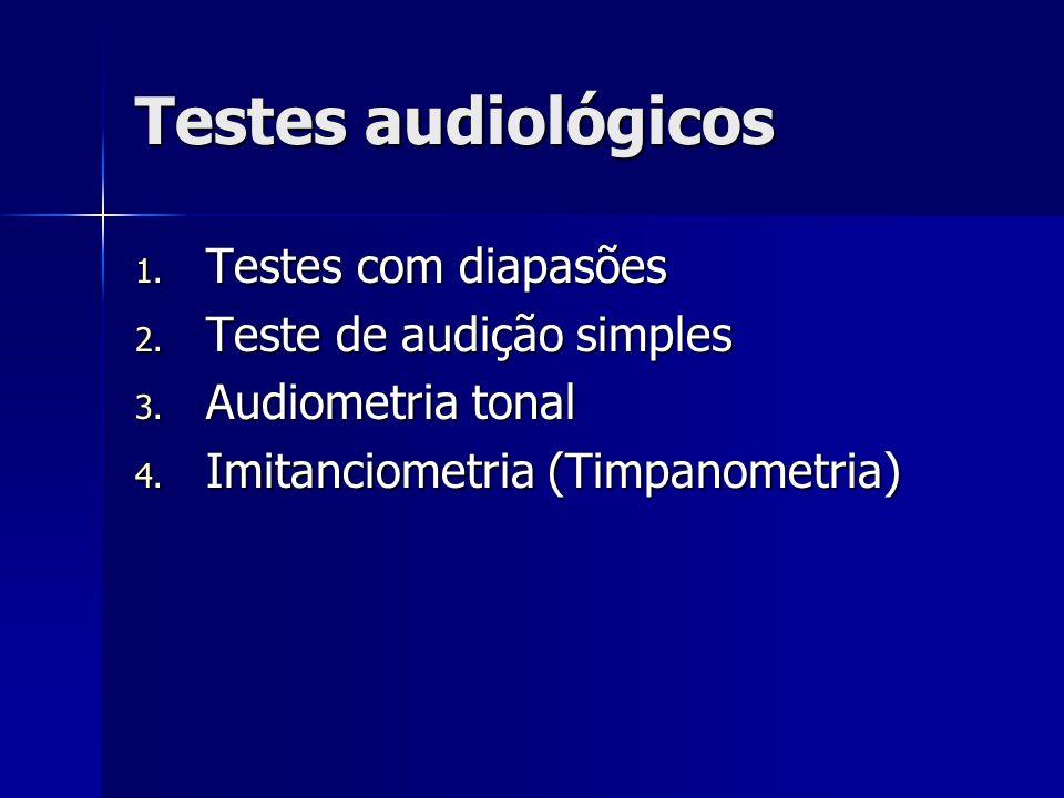 Testes audiológicos 1. Testes com diapasões 2. Teste de audição simples 3. Audiometria tonal 4. Imitanciometria (Timpanometria)