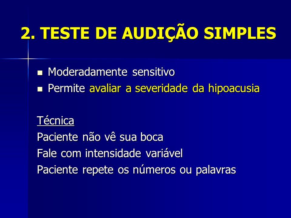 2. TESTE DE AUDIÇÃO SIMPLES Moderadamente sensitivo Moderadamente sensitivo Permite avaliar a severidade da hipoacusia Permite avaliar a severidade da