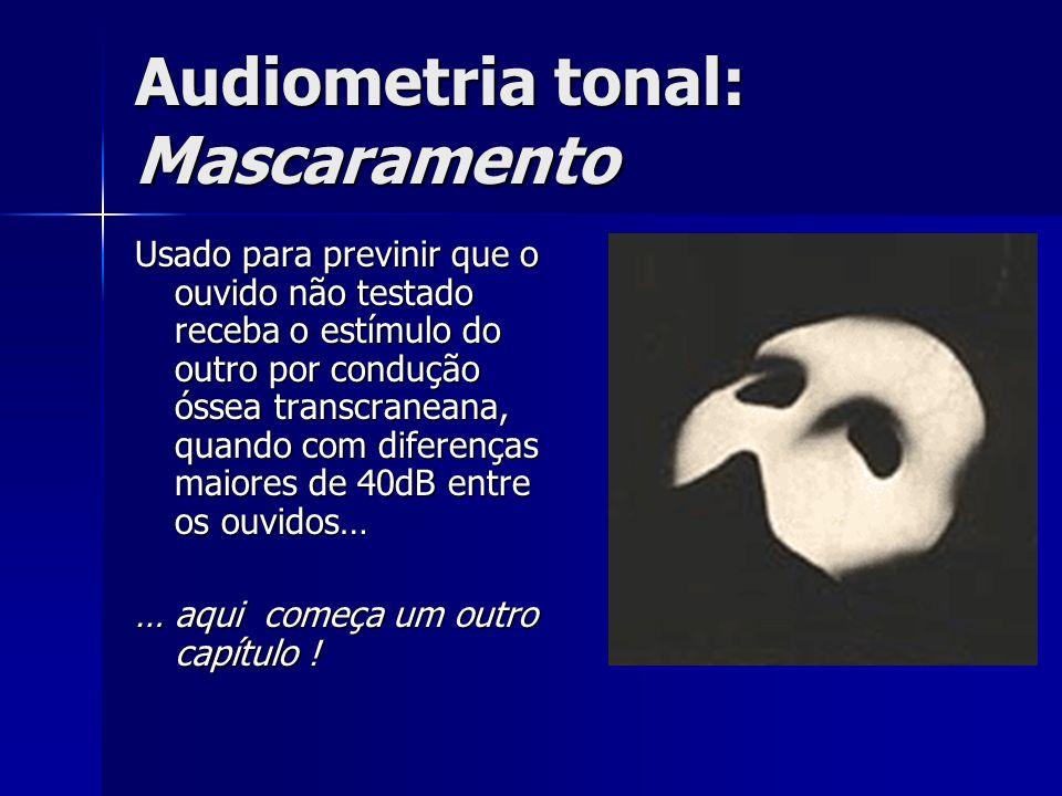 Audiometria tonal: Mascaramento Usado para previnir que o ouvido não testado receba o estímulo do outro por condução óssea transcraneana, quando com d