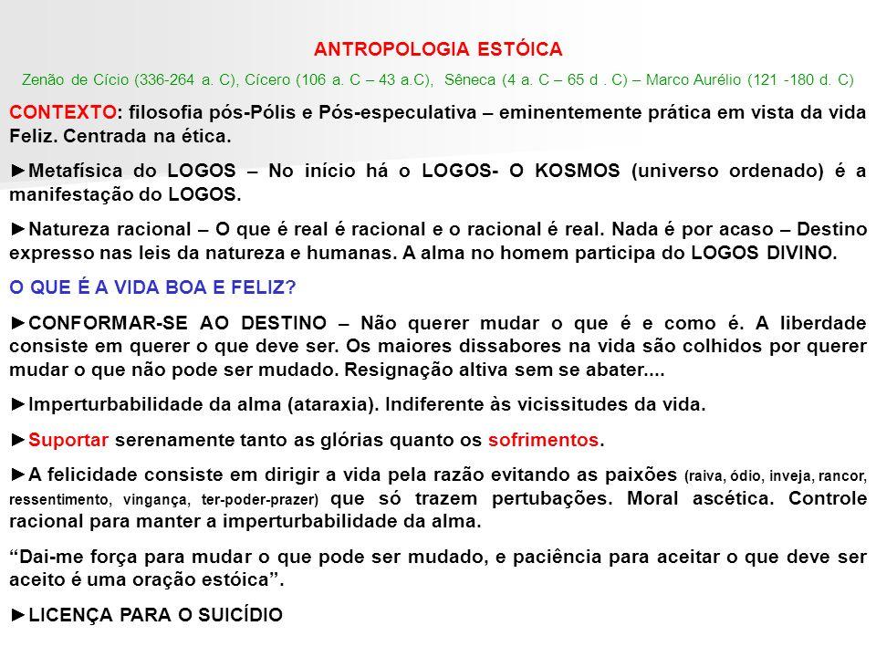 ANTROPOLOGIA ESTÓICA Zenão de Cício (336-264 a. C), Cícero (106 a. C – 43 a.C), Sêneca (4 a. C – 65 d. C) – Marco Aurélio (121 -180 d. C) CONTEXTO: fi