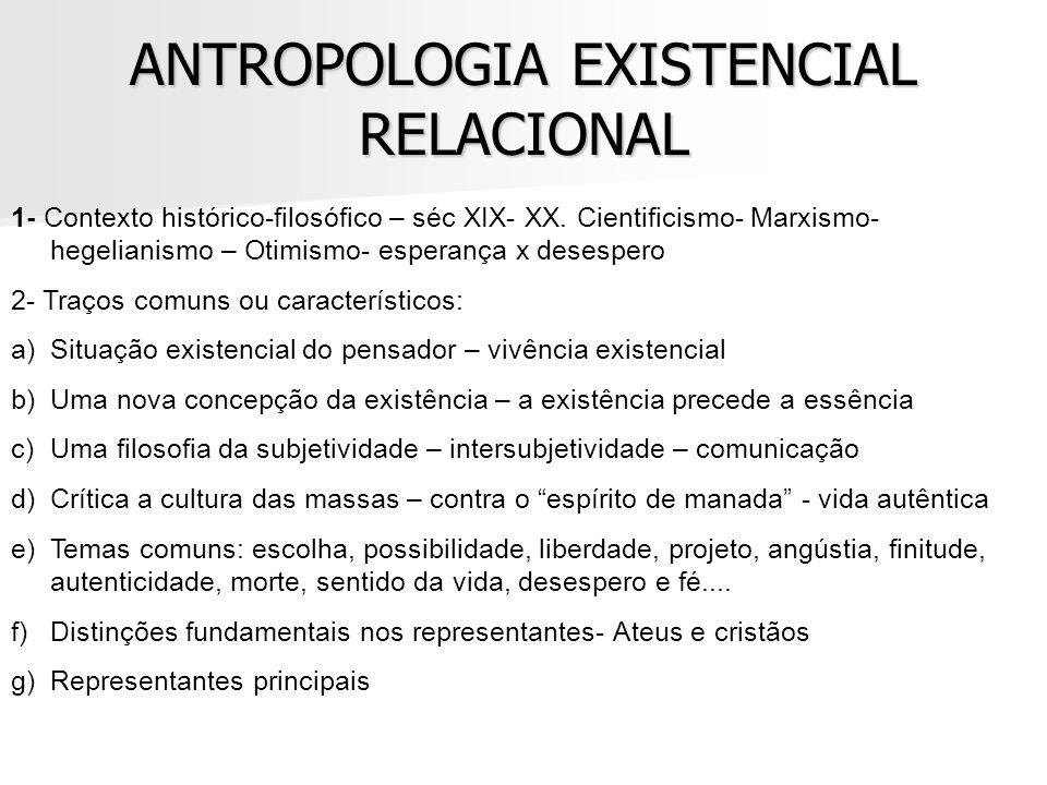 ANTROPOLOGIA EXISTENCIAL RELACIONAL 1- Contexto histórico-filosófico – séc XIX- XX. Cientificismo- Marxismo- hegelianismo – Otimismo- esperança x dese