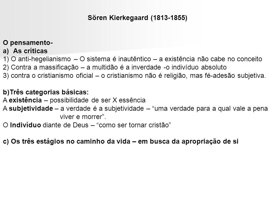 Sören Kierkegaard (1813-1855) O pensamento- a)As críticas 1) O anti-hegelianismo – O sistema é inautêntico – a existência não cabe no conceito 2) Cont