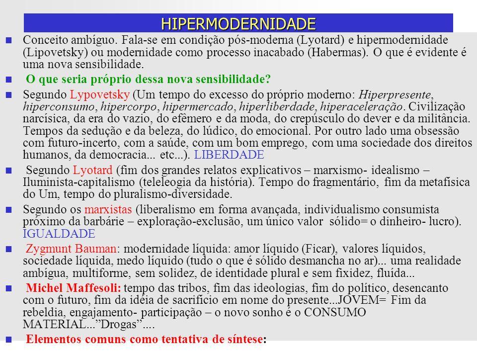 HIPERMODERNIDADE Conceito ambíguo. Fala-se em condição pós-moderna (Lyotard) e hipermodernidade (Lipovetsky) ou modernidade como processo inacabado (H