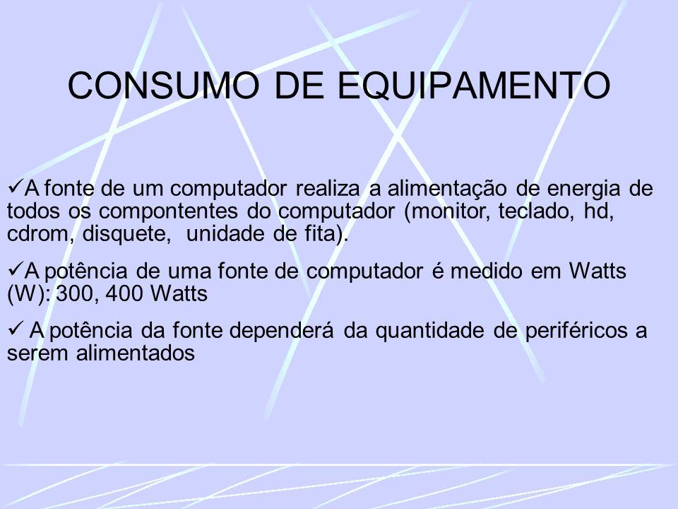 CONSUMO DE EQUIPAMENTO A fonte de um computador realiza a alimentação de energia de todos os compontentes do computador (monitor, teclado, hd, cdrom, disquete, unidade de fita).