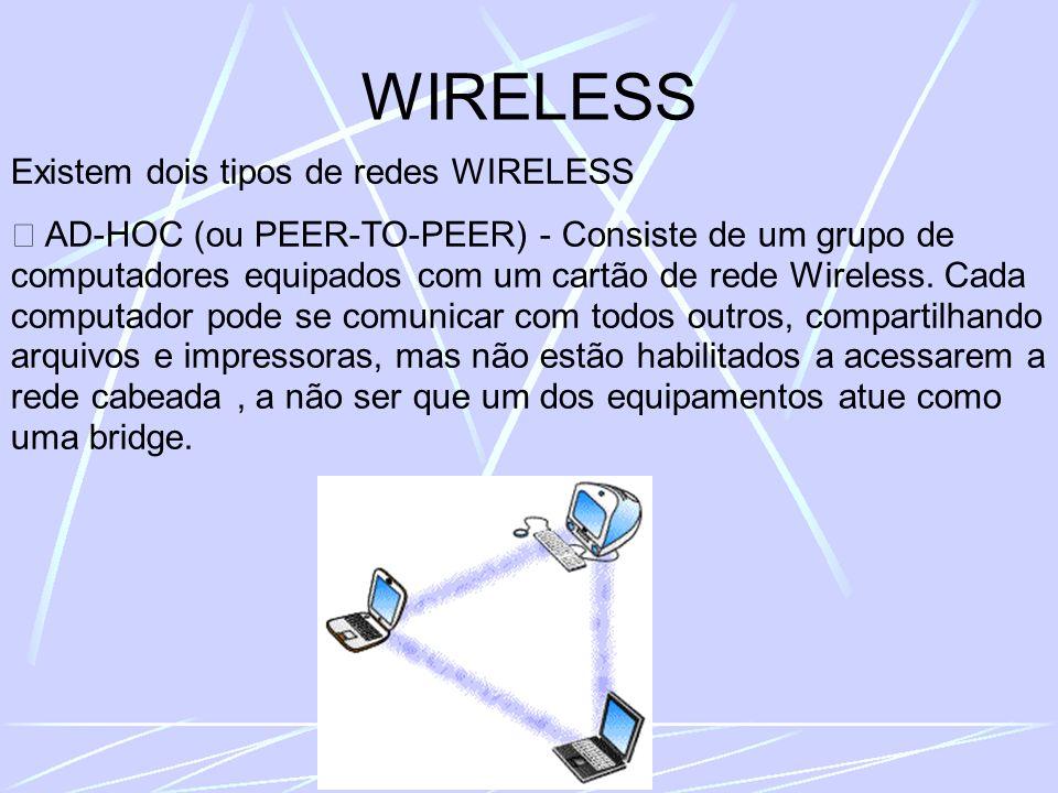 WIRELESS Existem dois tipos de redes WIRELESS AD-HOC (ou PEER-TO-PEER) - Consiste de um grupo de computadores equipados com um cartão de rede Wireless.