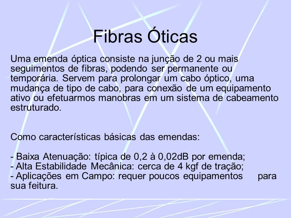Fibras Óticas Uma emenda óptica consiste na junção de 2 ou mais seguimentos de fibras, podendo ser permanente ou temporária.
