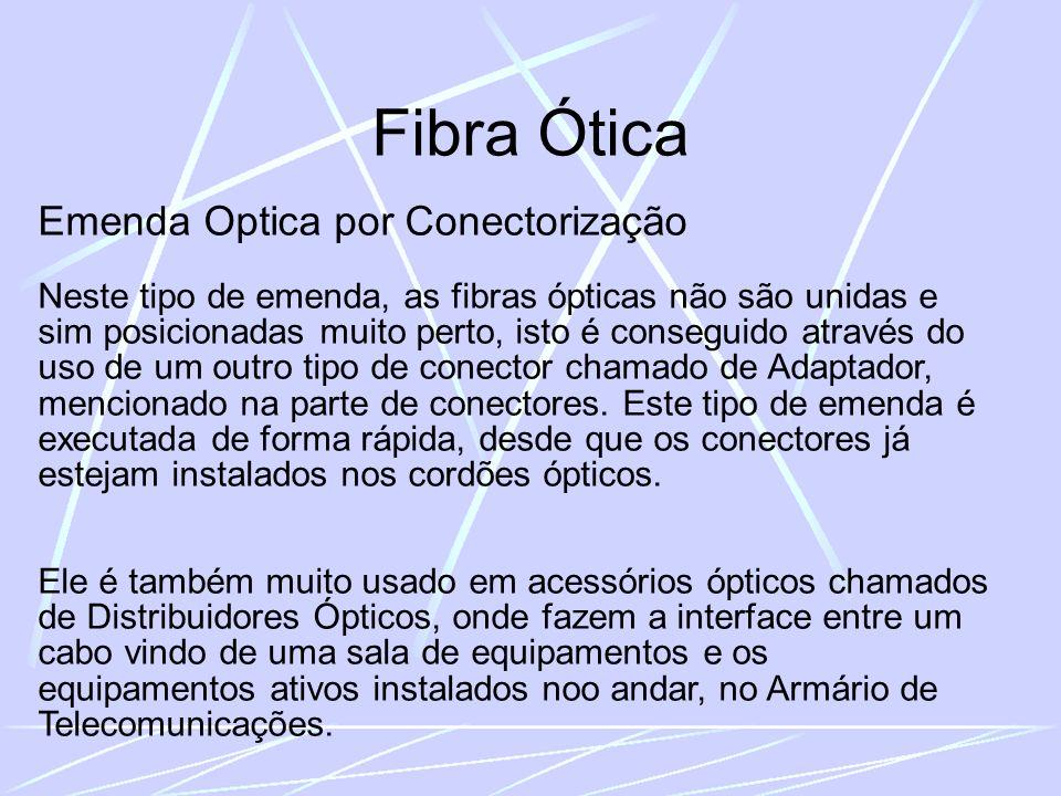 Fibra Ótica Emenda Optica por Conectorização Neste tipo de emenda, as fibras ópticas não são unidas e sim posicionadas muito perto, isto é conseguido através do uso de um outro tipo de conector chamado de Adaptador, mencionado na parte de conectores.
