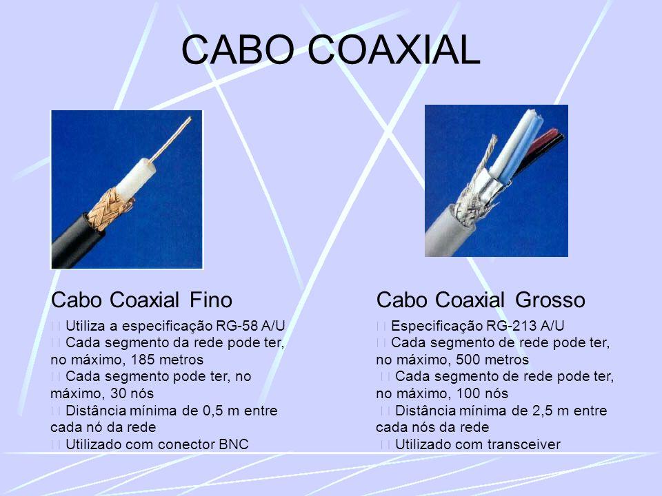 CABO COAXIAL Cabo Coaxial Fino Utiliza a especificação RG-58 A/U Cada segmento da rede pode ter, no máximo, 185 metros Cada segmento pode ter, no máximo, 30 nós Distância mínima de 0,5 m entre cada nó da rede Utilizado com conector BNC Cabo Coaxial Grosso Especificação RG-213 A/U Cada segmento de rede pode ter, no máximo, 500 metros Cada segmento de rede pode ter, no máximo, 100 nós Distância mínima de 2,5 m entre cada nós da rede Utilizado com transceiver