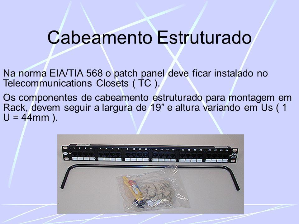 Cabeamento Estruturado Na norma EIA/TIA 568 o patch panel deve ficar instalado no Telecommunications Closets ( TC ).