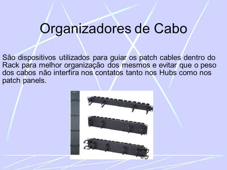 Organizadores de Cabo São dispositivos utilizados para guiar os patch cables dentro do Rack para melhor organização dos mesmos e evitar que o peso dos cabos não interfira nos contatos tanto nos Hubs como nos patch panels.