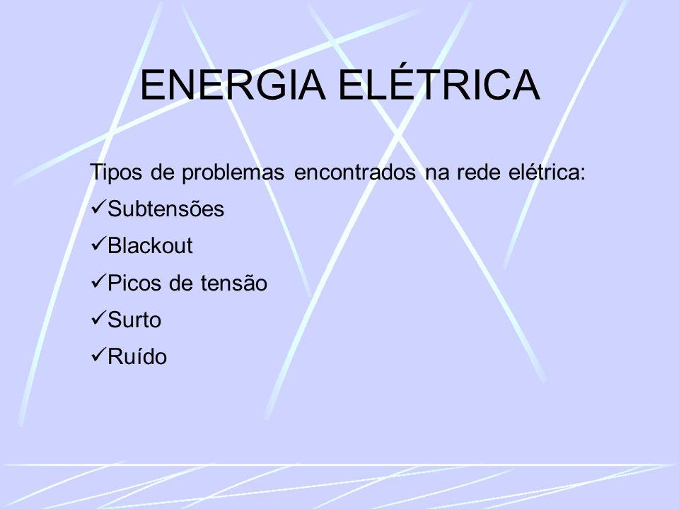 ENERGIA ELÉTRICA Tipos de problemas encontrados na rede elétrica: Subtensões Blackout Picos de tensão Surto Ruído