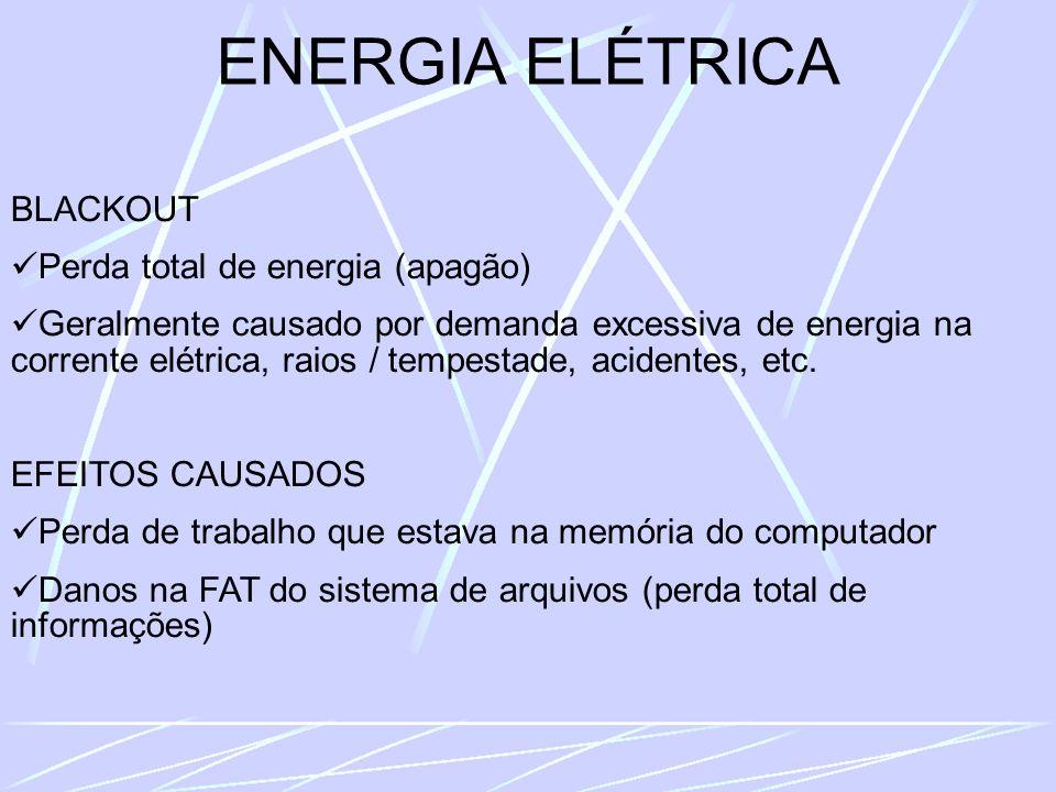 ENERGIA ELÉTRICA BLACKOUT Perda total de energia (apagão) Geralmente causado por demanda excessiva de energia na corrente elétrica, raios / tempestade, acidentes, etc.