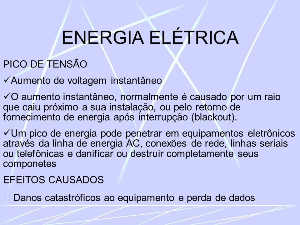 ENERGIA ELÉTRICA PICO DE TENSÃO Aumento de voltagem instantâneo O aumento instantâneo, normalmente é causado por um raio que caiu próximo a sua instalação, ou pelo retorno de fornecimento de energia após interrupção (blackout).