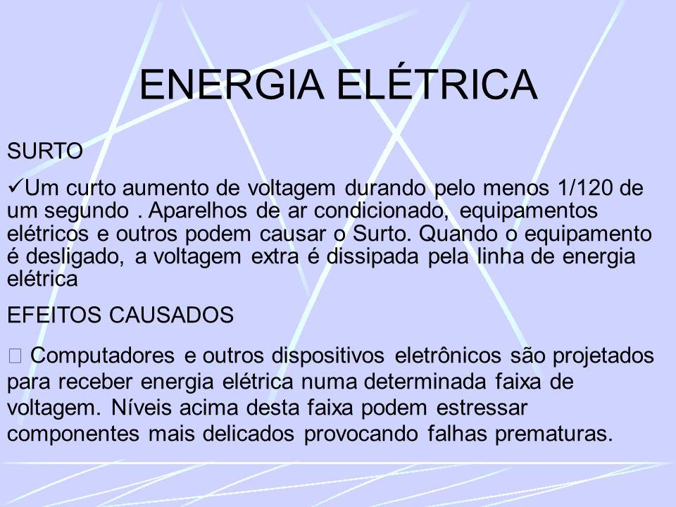 ENERGIA ELÉTRICA SURTO Um curto aumento de voltagem durando pelo menos 1/120 de um segundo.