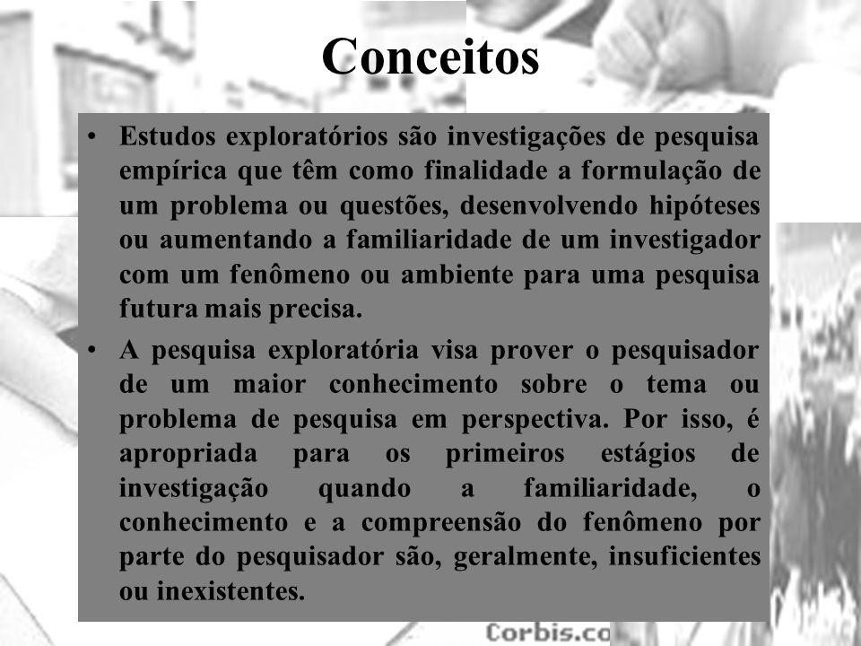 Conceitos Estudos exploratórios são investigações de pesquisa empírica que têm como finalidade a formulação de um problema ou questões, desenvolvendo