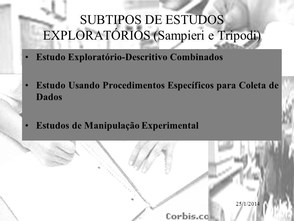 25/1/2014 SUBTIPOS DE ESTUDOS EXPLORATÓRIOS (Sampieri e Tripodi) Estudo Exploratório-Descritivo Combinados Estudo Usando Procedimentos Específicos par