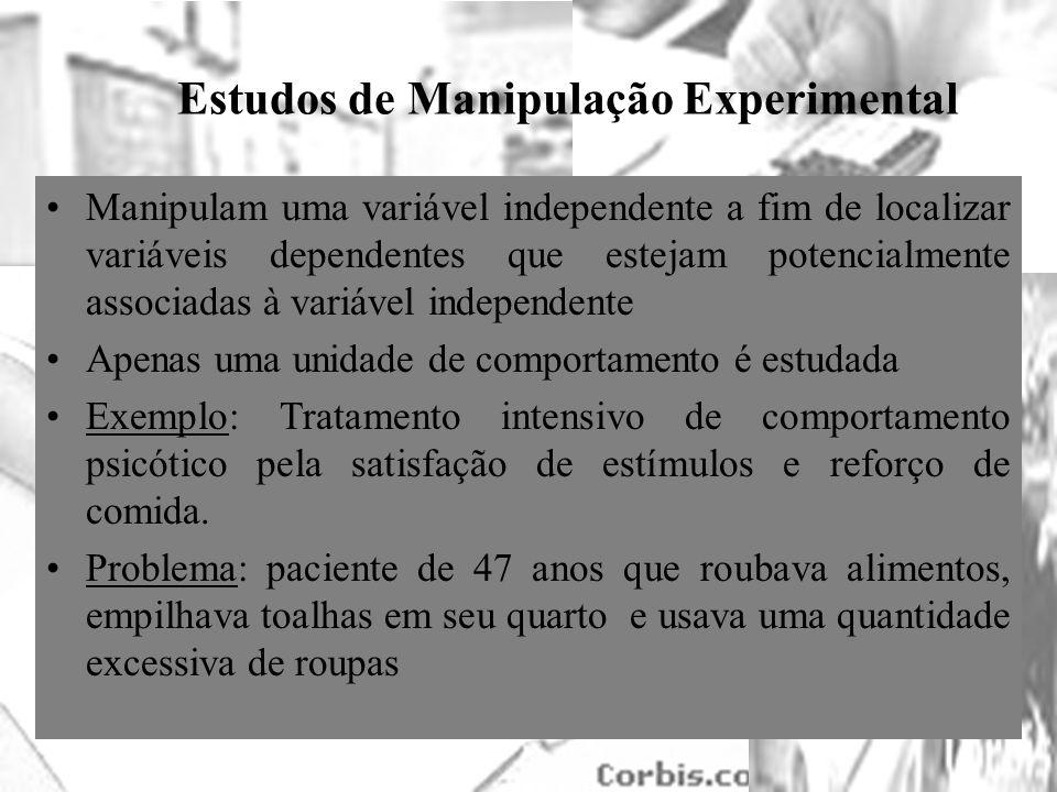 25/1/2014 Estudos de Manipulação Experimental Manipulam uma variável independente a fim de localizar variáveis dependentes que estejam potencialmente