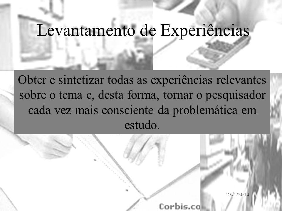 25/1/2014 Levantamento de Experiências Obter e sintetizar todas as experiências relevantes sobre o tema e, desta forma, tornar o pesquisador cada vez