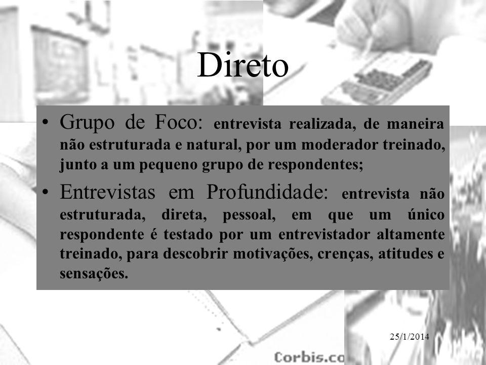 25/1/2014 Direto Grupo de Foco: entrevista realizada, de maneira não estruturada e natural, por um moderador treinado, junto a um pequeno grupo de res