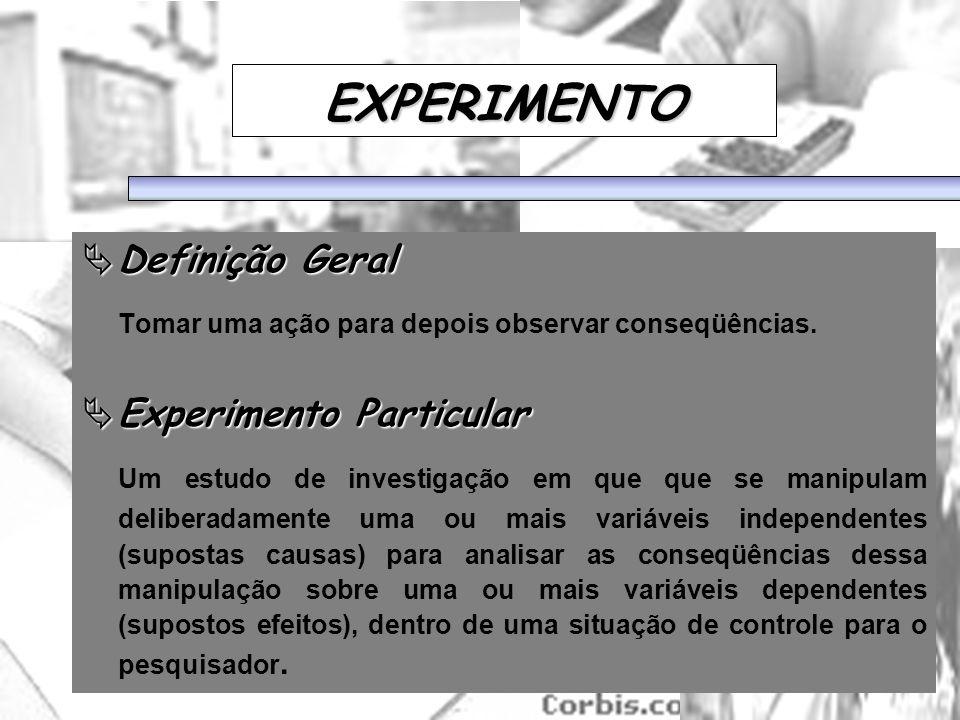 25/1/2014 EXPERIMENTO Definição Geral Definição Geral Tomar uma ação para depois observar conseqüências. Experimento Particular Experimento Particular