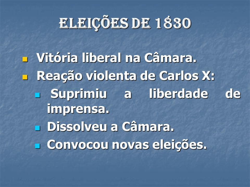 Eleições de 1830 Vitória liberal na Câmara. Vitória liberal na Câmara. Reação violenta de Carlos X: Reação violenta de Carlos X: Suprimiu a liberdade