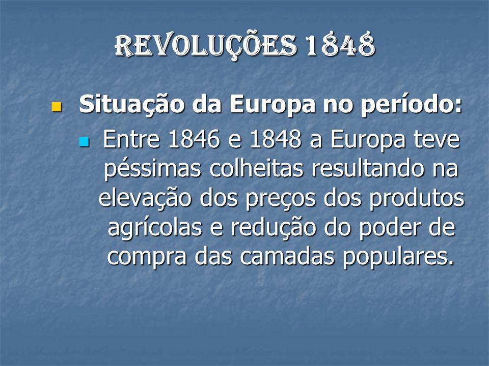 Revoluções 1848 Situação da Europa no período: Situação da Europa no período: Entre 1846 e 1848 a Europa teve péssimas colheitas resultando na elevação dos preços dos produtos agrícolas e redução do poder de compra das camadas populares.