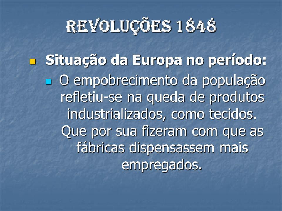 Revoluções 1848 Situação da Europa no período: Situação da Europa no período: O empobrecimento da população refletiu-se na queda de produtos industrializados, como tecidos.