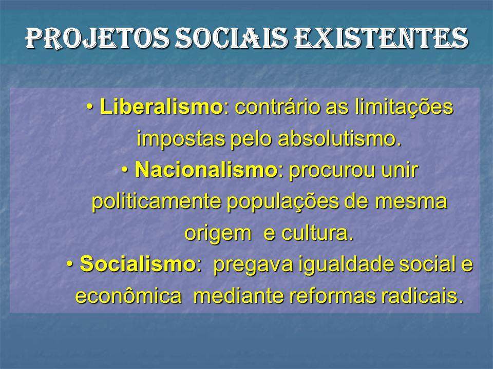 Projetos sociais existentes Liberalismo: contrário as limitações impostas pelo absolutismo. Liberalismo: contrário as limitações impostas pelo absolut