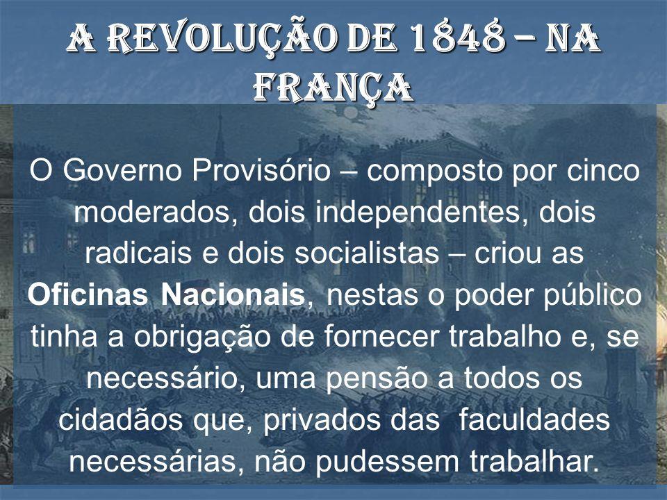 O Governo Provisório – composto por cinco moderados, dois independentes, dois radicais e dois socialistas – criou as Oficinas Nacionais, nestas o pode