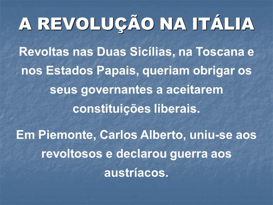 Revoltas nas Duas Sicílias, na Toscana e nos Estados Papais, queriam obrigar os seus governantes a aceitarem constituições liberais. Em Piemonte, Carl