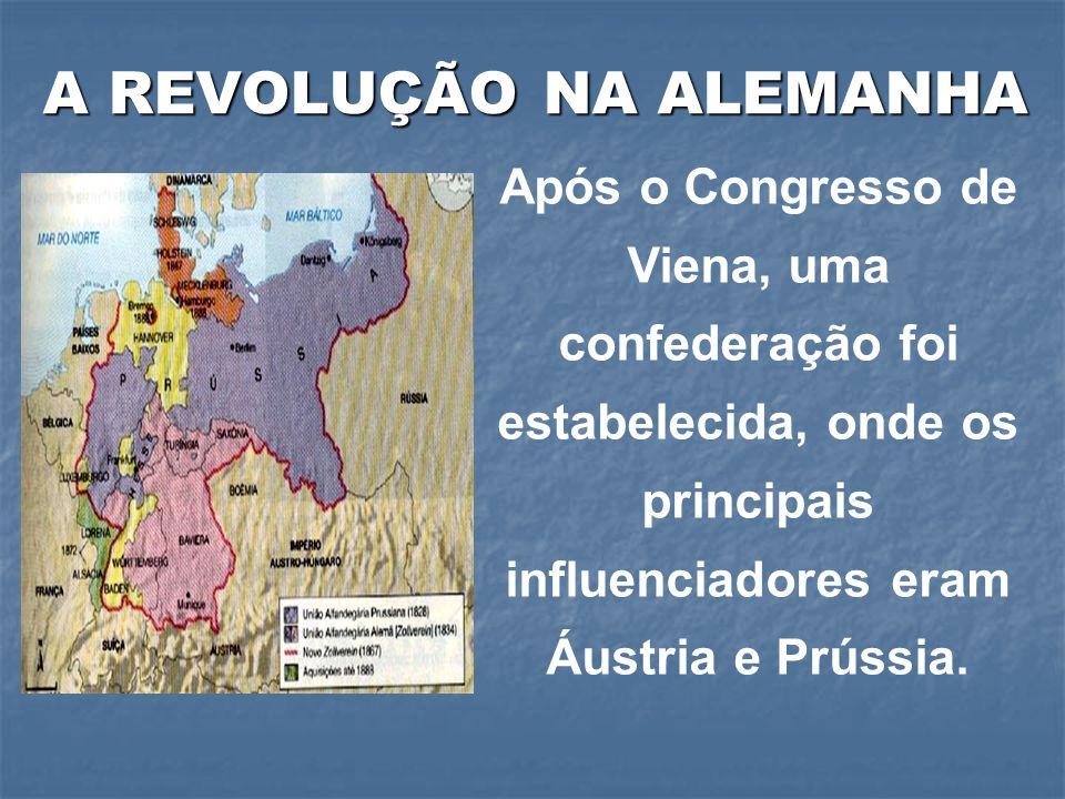 Após o Congresso de Viena, uma confederação foi estabelecida, onde os principais influenciadores eram Áustria e Prússia. A REVOLUÇÃO NA ALEMANHA