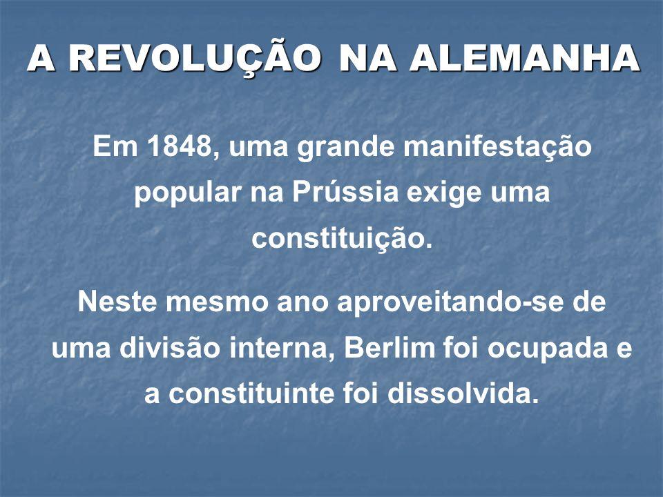 Em 1848, uma grande manifestação popular na Prússia exige uma constituição.