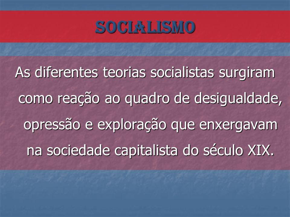 As diferentes teorias socialistas surgiram como reação ao quadro de desigualdade, opressão e exploração que enxergavam na sociedade capitalista do séc
