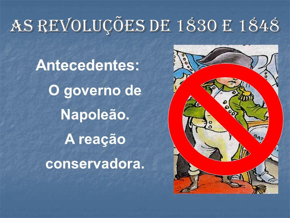 As revoluções de 1830 e 1848 Antecedentes: O governo de Napoleão. A reação conservadora.