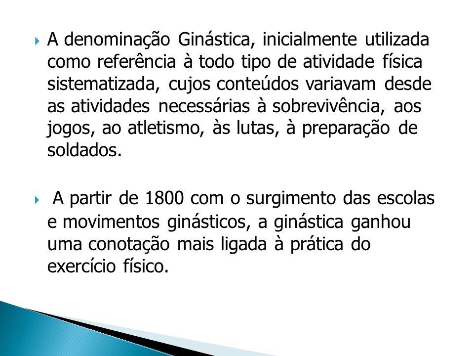 A denominação Ginástica, inicialmente utilizada como referência à todo tipo de atividade física sistematizada, cujos conteúdos variavam desde as ativi