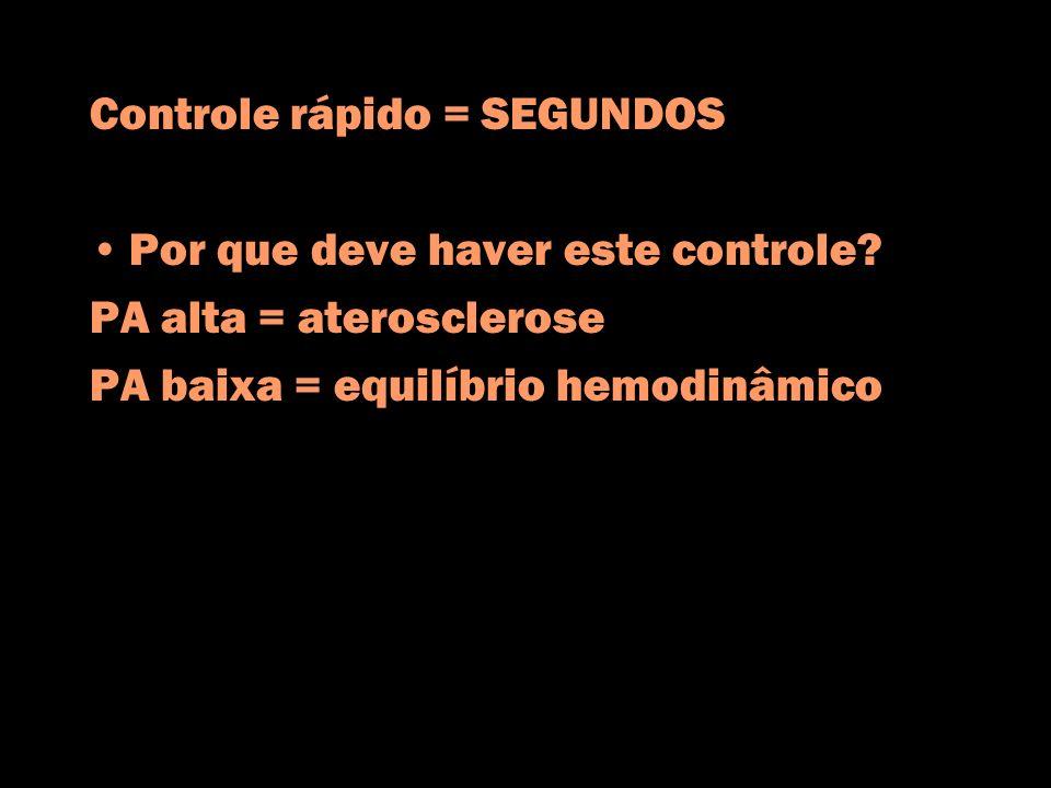 Controle rápido = SEGUNDOS Por que deve haver este controle? PA alta = aterosclerose PA baixa = equilíbrio hemodinâmico