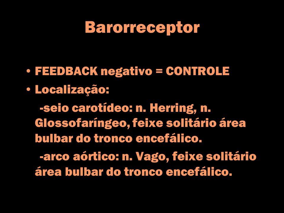 Barorreceptor FEEDBACK negativo = CONTROLE Localização: -seio carotídeo: n. Herring, n. Glossofaríngeo, feixe solitário área bulbar do tronco encefáli